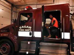 shacky pat in fire truck